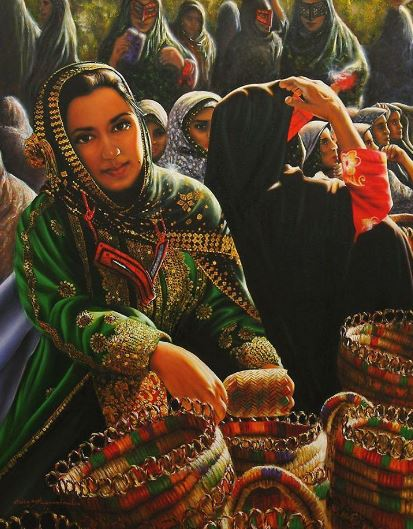 © Ali Pourahmad, Local handicrafts market in southern Iran oil painted by hand 2003