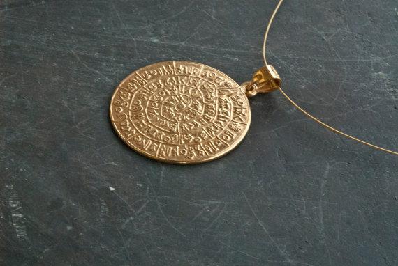 Gold Greek Phaistos Disc
