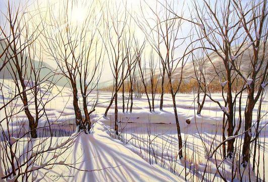 © Ali Pourahmad, 2003 oil painting,  winter trees