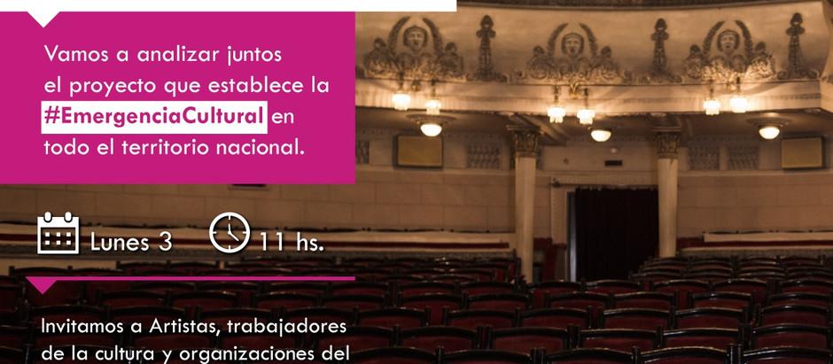 CONVOCATORIA A DEBATIR EL PRÓXIMO LUNES UN PROYECTO DE LEY DE EMERGENCIA CULTURAL A NIVEL NACIONAL