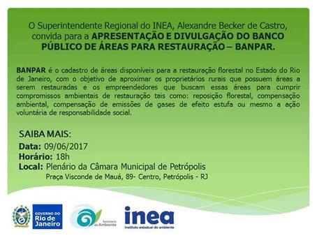 Convite Apresentação e Divulgação do BANPAR em Petrópolis - RJ