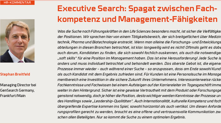 Executive Search in Life Sciences - balancing industry knowledge and management skills