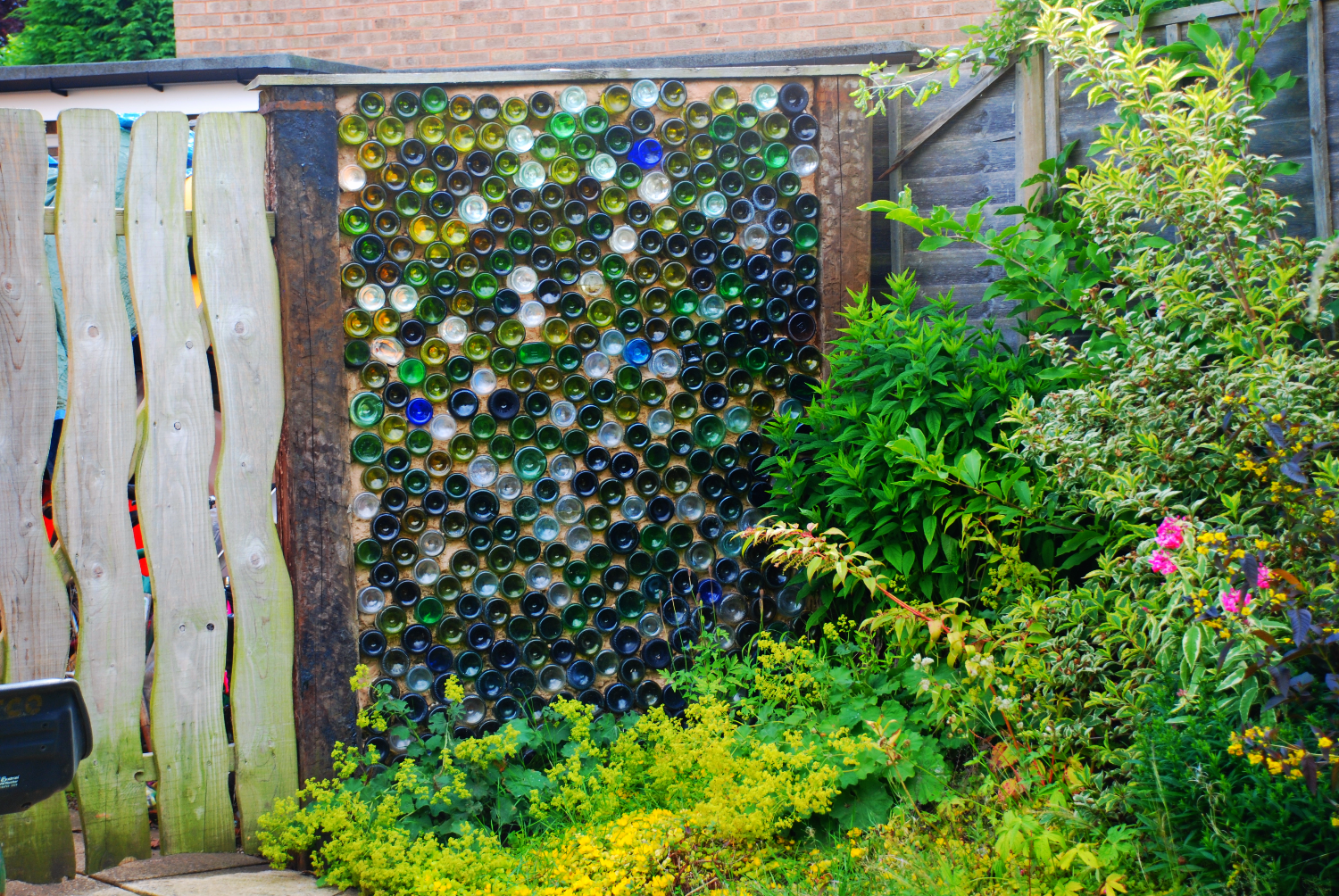 Recycled bottle wall