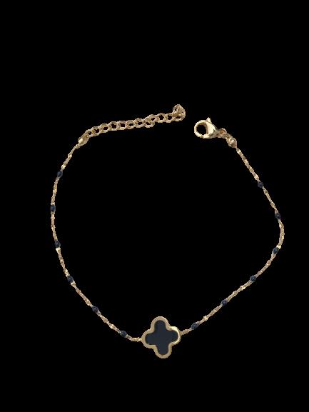 bracelet trèfle noir