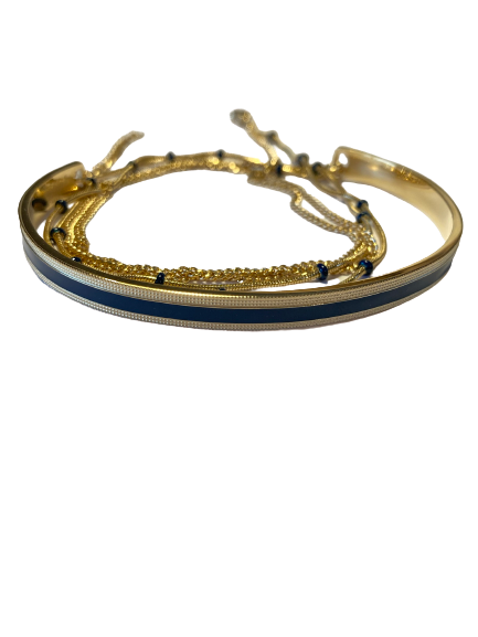 bracelet jonc et chaine bleu marine