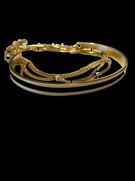 bracelet jonc et chaine blanc