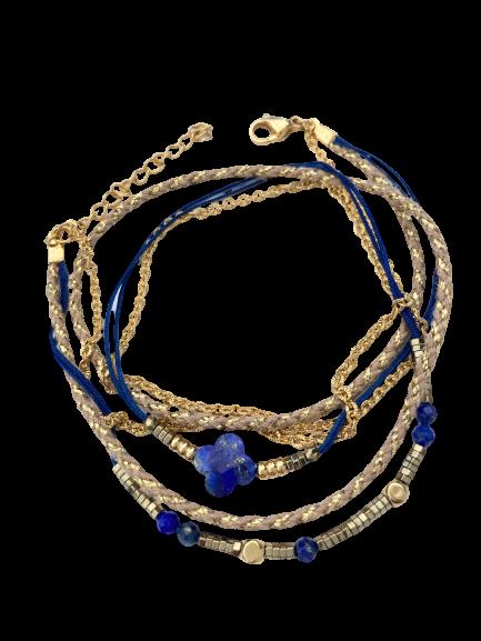 bracelet multirangs Trèfle Lapis Lazuli