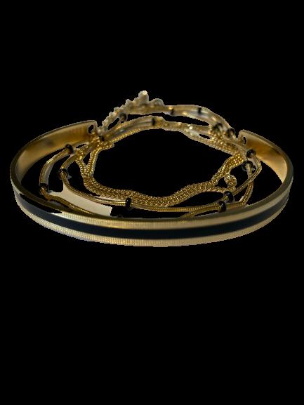 bracelet jonc et chaine noir