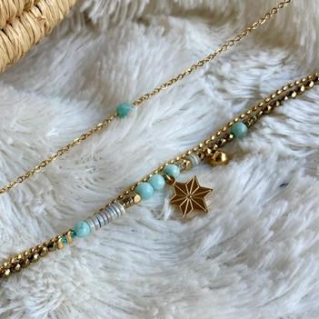 bracelet petite perle amazonite et brace