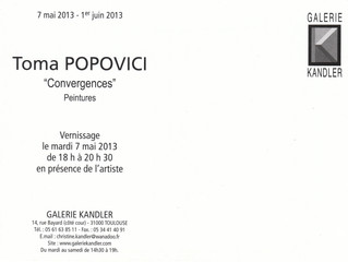 La Galerie Kandler à Toulouse présente les tableaux de Toma Popovici
