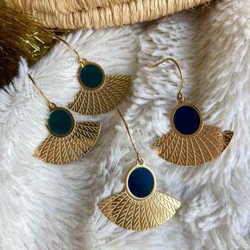 boucle d'oreille vert fonce et bleu mari