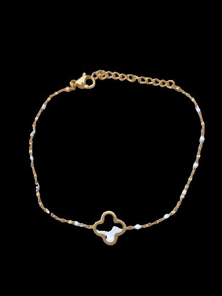bracelet trèfle blanc