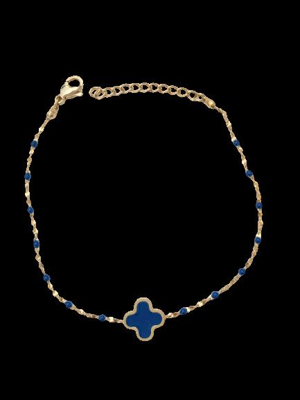 bracelet trèfle bleu marine