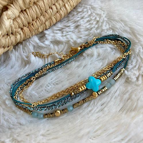 bracelet multirangs trèfle turquoise