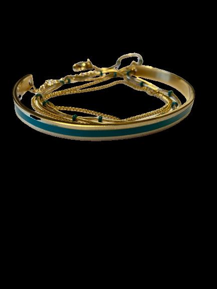 bracelet jonc et chaine vert