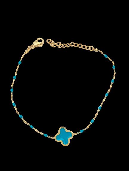 bracelet trèfle turquoise