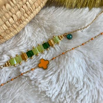bracelet dore perle miyuki vert et brace
