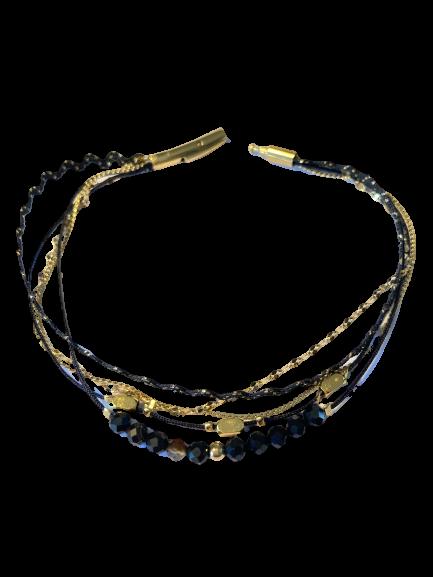 bracelet fin cristal noir