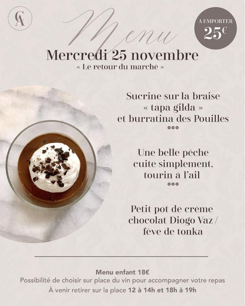 menu à emporter 25 nov Les Clefs d'Argen