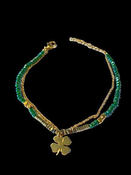 bracelet double Trèfle Cristal vert