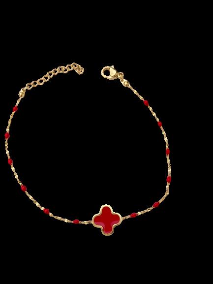 bracelet trèfle rouge