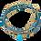 Thumbnail: bracelet multirangs trèfle turquoise