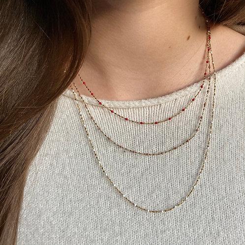colllier perles de résine, couleurs chaudes