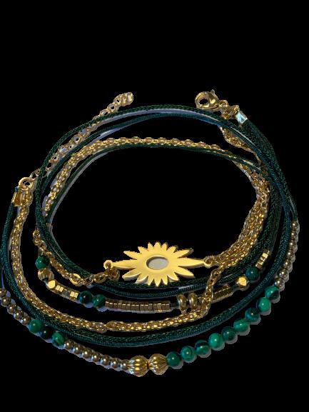 bracelet multirangs soleil malachite