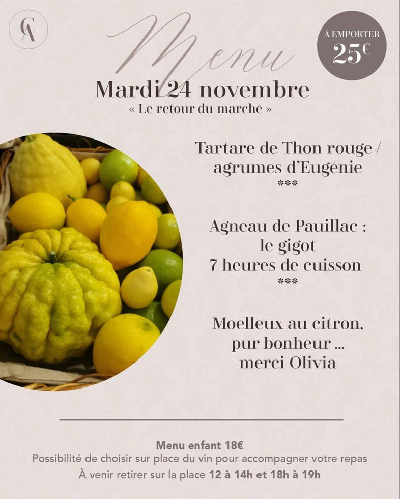 menu à emporter 24 nov  Les Clefs d'Arge