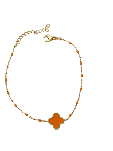 bracelet trèfle orange