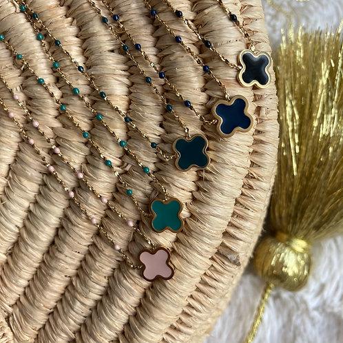 collier Trèfle, couleurs froides