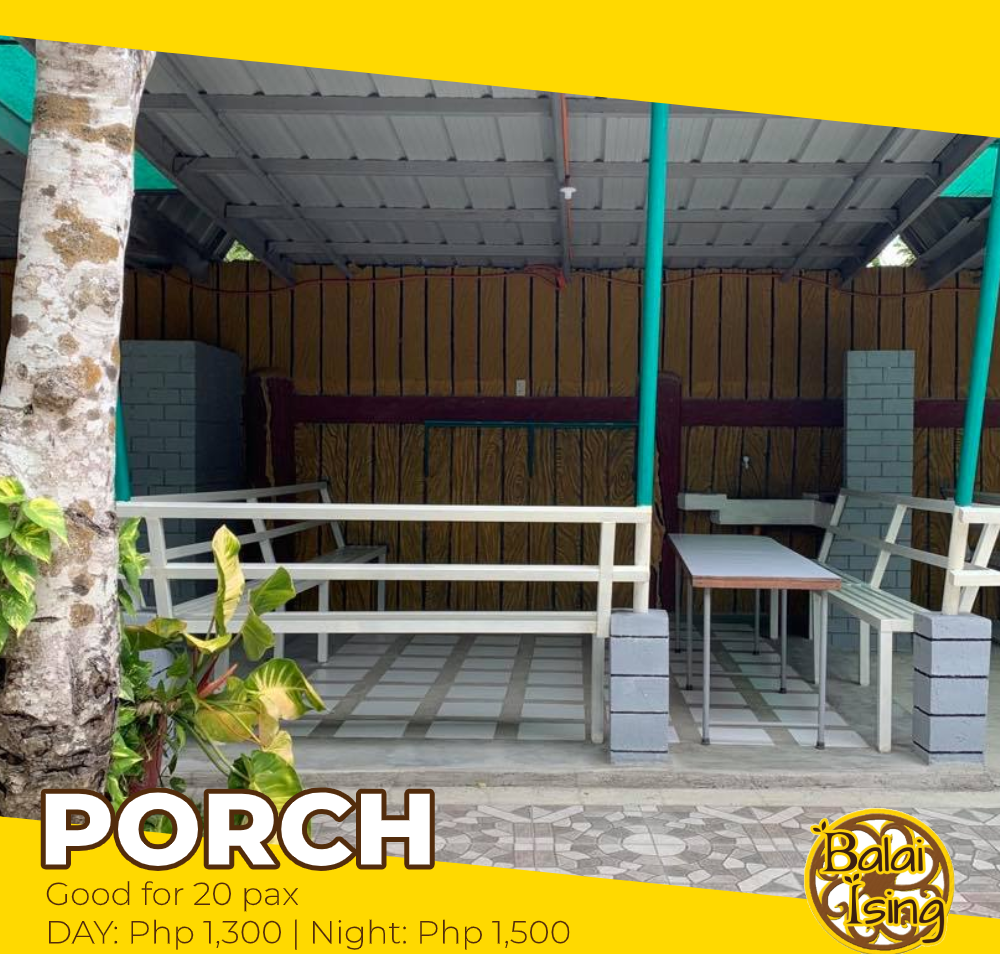 Porch is a modern and medium sized open cottage that can accomodate up to 20 persons. It has one large table with surrounding seat. It also have an electric outlet that you can use to plug your electronics and gadgets as well as its own grilling station.