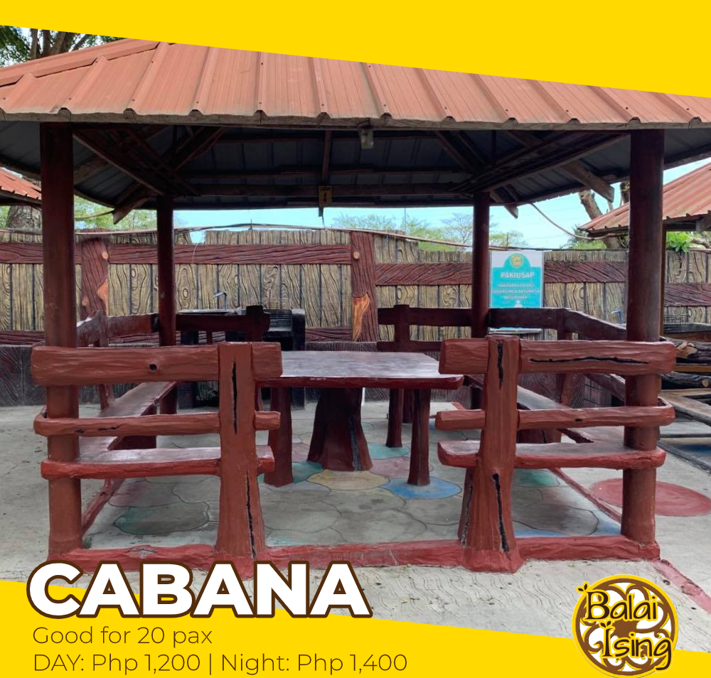 Cabana is a medium sized open cottage that can accomodate up to 20 persons. It has one large table with surrounding seat. It also have an electric outlet that you can use to plug your electronics and gadgets as well as its own sink and grilling station.