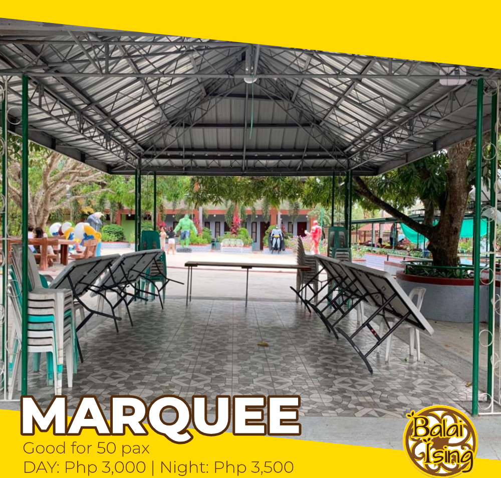 Marquee 2 is a large open cottage that can accomodate up to 50 persons. It has multiple  tables and monoblock chairs. It also have an electric outlet that you can use to plug your electronics and gadgets.