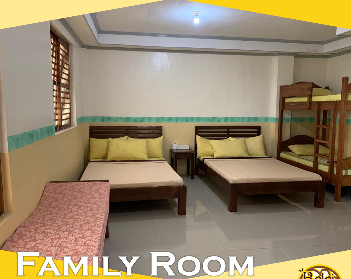 Good for 4 persons with maximum occupants up to 10 persons. It has two double bed and one cleopatra with foam. Own comfort room, television, mini cabinet and air-condition.