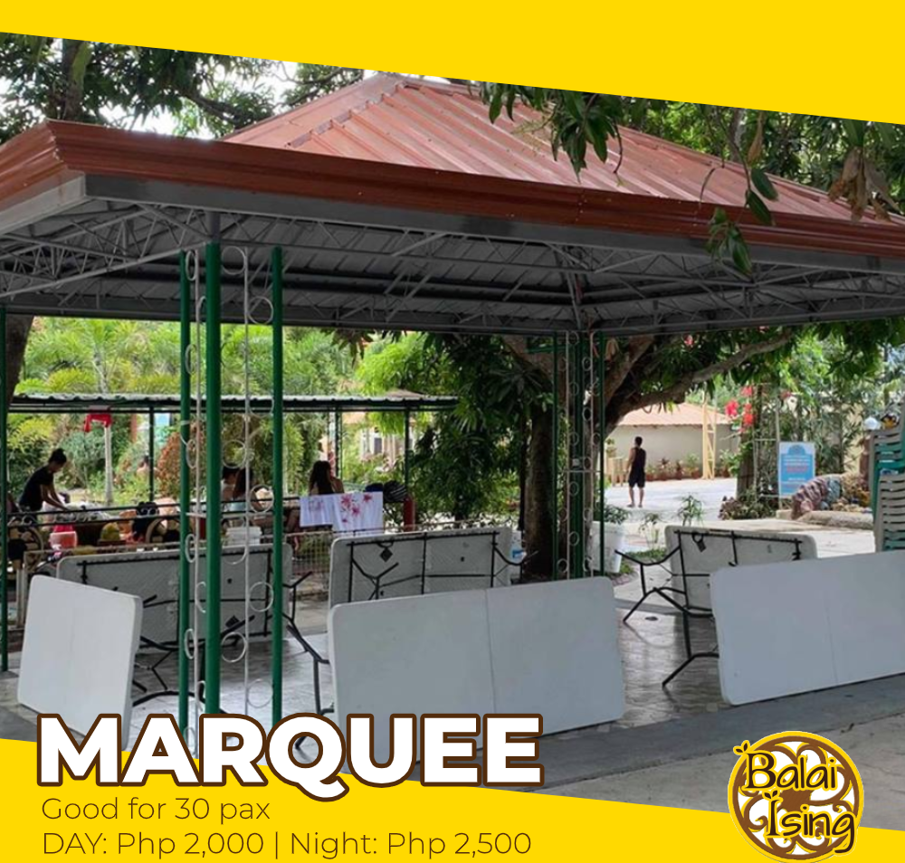 Marquee 1 is a large open cottage that can accomodate up to 30 persons. It has multiple  tables and monoblock chairs. It also have an electric outlet that you can use to plug your electronics and gadgets.