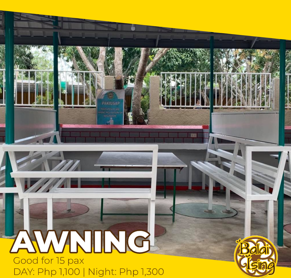 Awning is a medium sized open cottage that can accomodate up to 15 persons. It has one large table with surrounding seat. It also have an electric outlet that you can use to plug your electronics and gadgets as well as its concrete shelf you can use to put some of your belongings too.