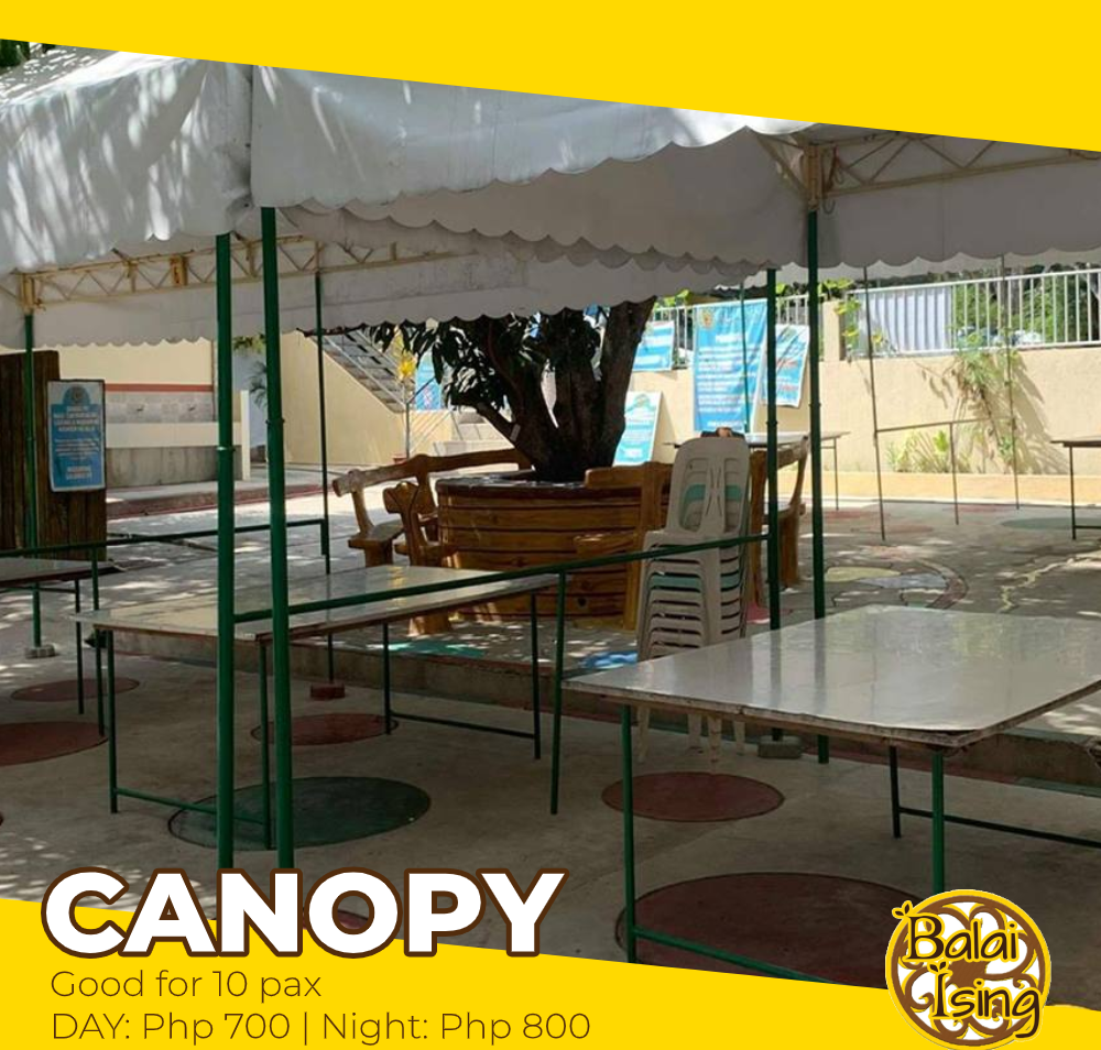 Canopy is a small open tent-like cottage that can accomodate up to 10 persons. It has one large table and 10 monoblock chairs. It also have an electric outlet that you can use to plug your electronics and gadgets.