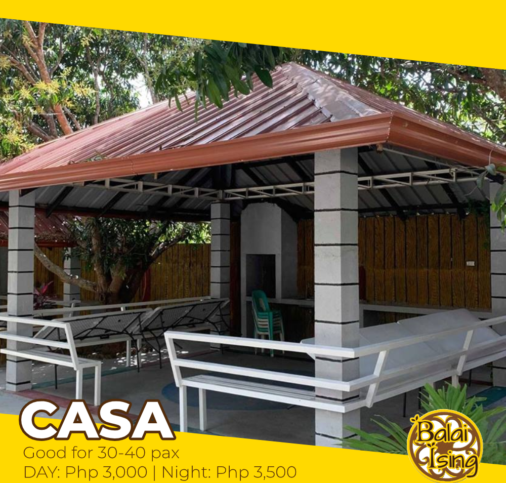 Casa is a modern and large sized open cottage that can accomodate up to 30-50 persons. It has four table with surrounding seat. It also have an electric outlet that you can use to plug your electronics and gadgets as well as its own grilling station.
