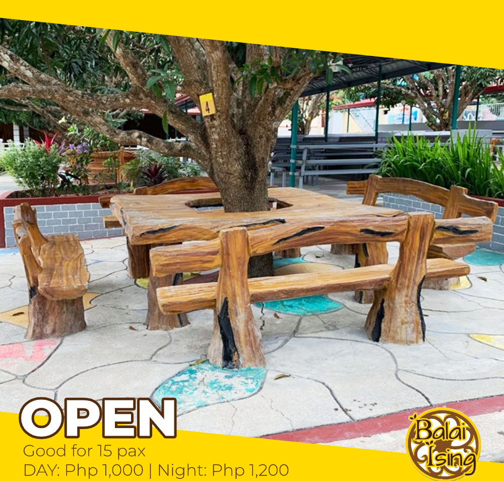 Open Cottage is our medium sized cottage that can accomodate up to 15 persons. Its concrete table and chair surrounds one large Mango tree. It also have an electric outlet that you can use to plug your electronics and gadgets.