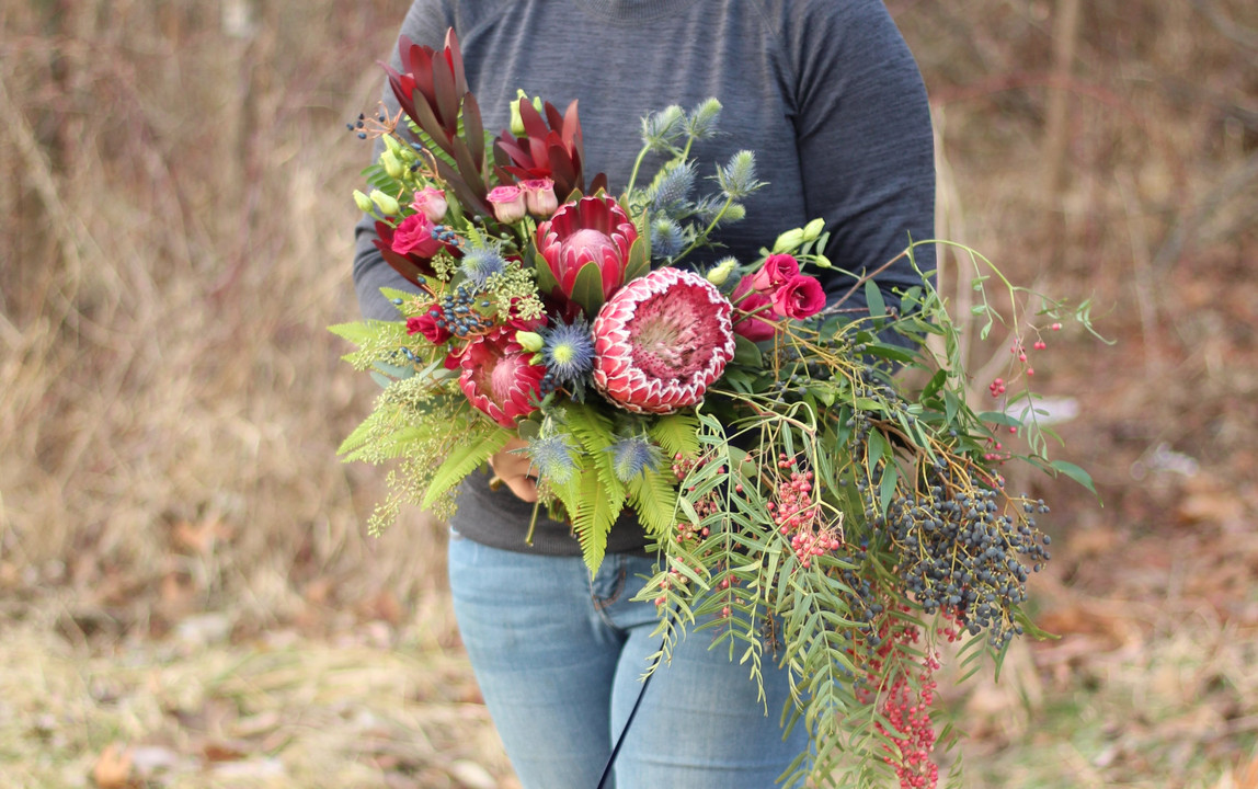 red protea bridal bouquet