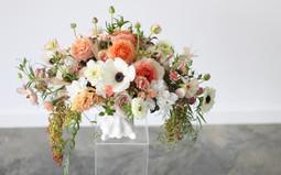 peach spring wedding centerpiece