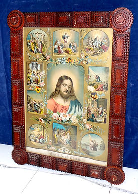1881 The Life Of Christ Print With Tramp Art Frame