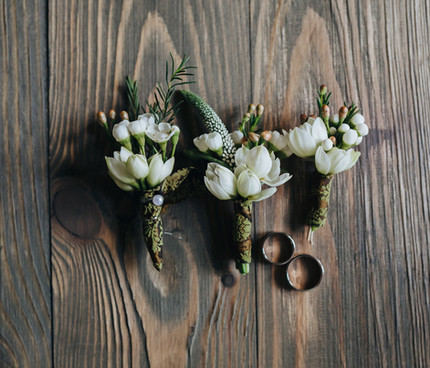 Bridesmaid's Bouquets and Wedding Rings_