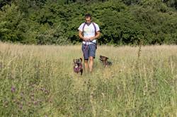 me walking 2 dogs