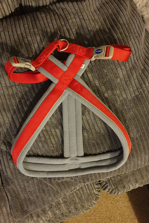 Dog walking harness, padded overhead