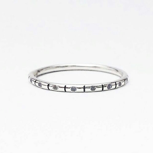 Dot Dash Patterned Silver Ring