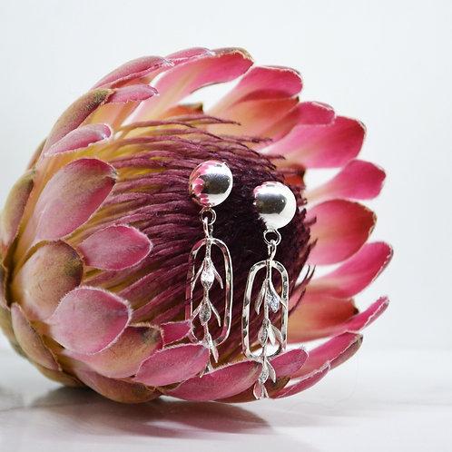 Leaf Sprig Dangle Earrings