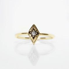 Gold and Diamond Starbusrt Engagement Ring
