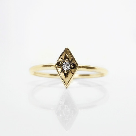 Gold and Diamond Starbusrt Engagement Ring